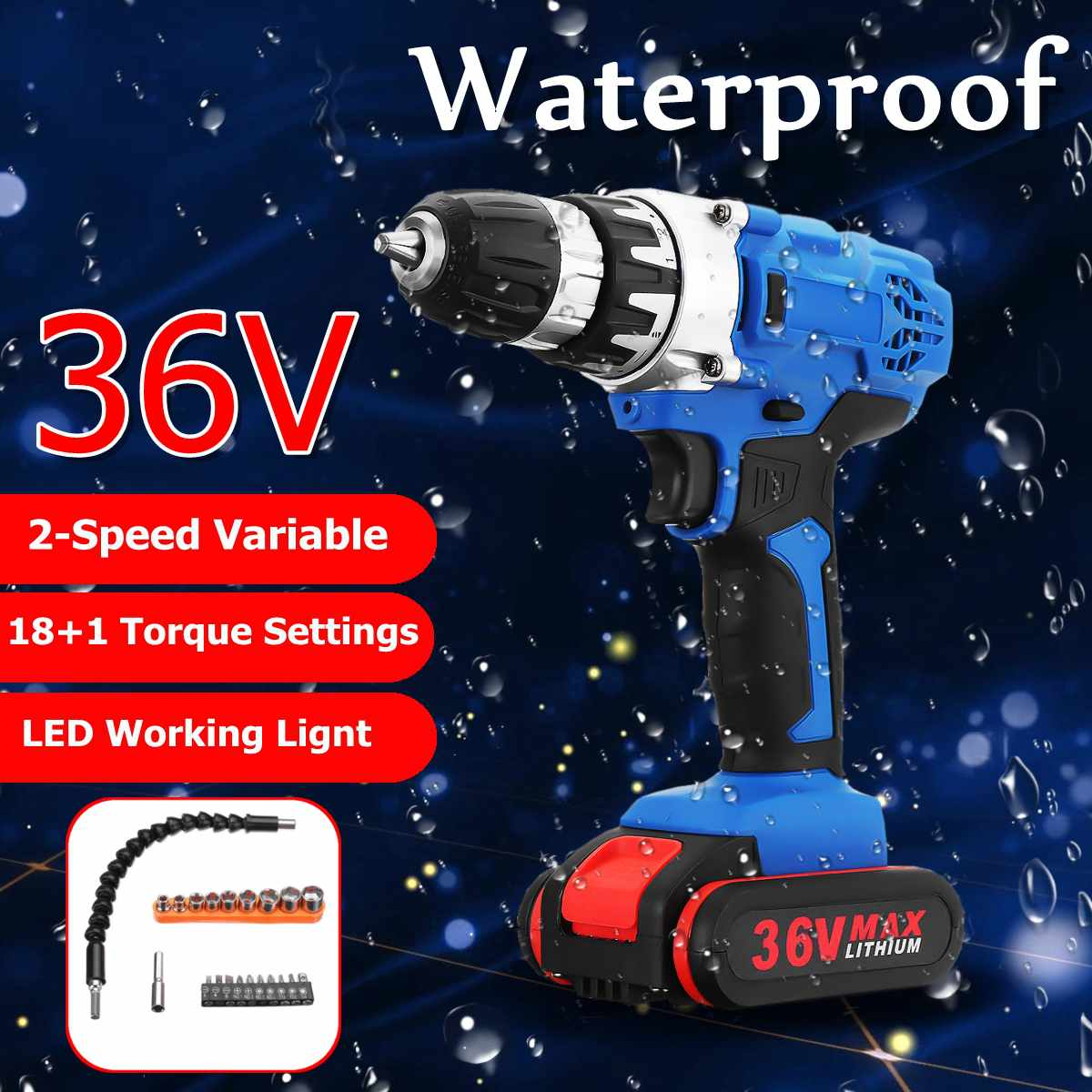 36V Cordless Drill Double-Speed 18+1 Torque Adjustment Electric Screwdriver Power Drills W/ 1/2 Li-Ion Battery Accessories36V Cordless Drill Double-Speed 18+1 Torque Adjustment Electric Screwdriver Power Drills W/ 1/2 Li-Ion Battery Accessories