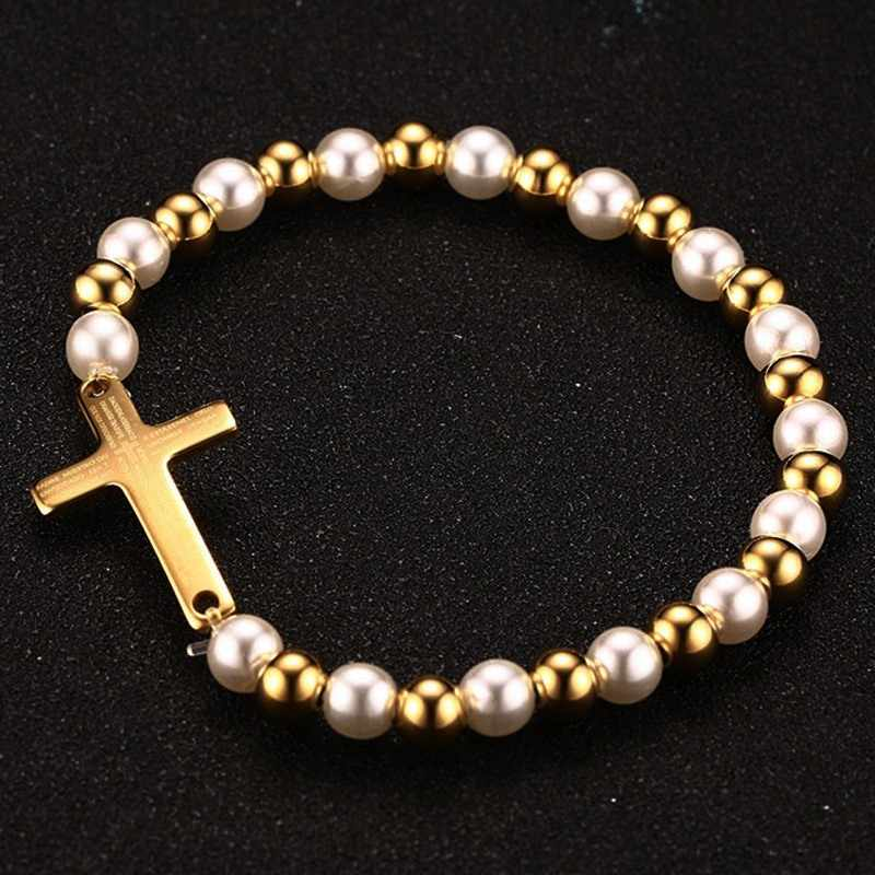 Vnox Pearl Beaded Bracelet for Woman Bible Cross Gold color Stainless Steel Women Jewelry