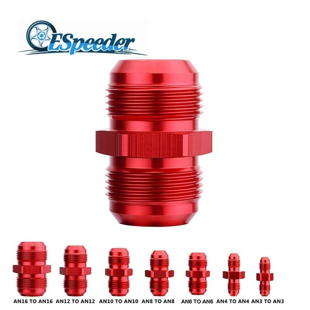 ESPEEDER Straight AN3 AN4 AN6 AN8 AN10 AN12 AN16 Male Flare Union Adaptor Fittings Nitrous Oil Hose End Fitting Adapter Red