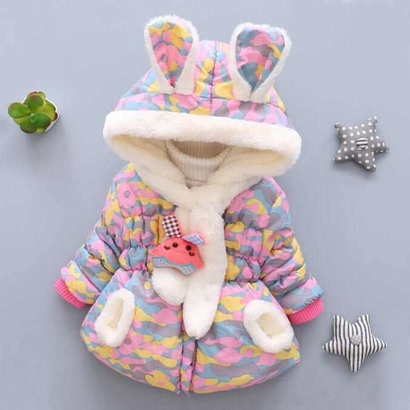 Детская одежда, пальто, новинка 2018 года, модная зимняя одежда для новорожденных, Вельветовая Милая хлопковая куртка с капюшоном, Одежда для младенцев