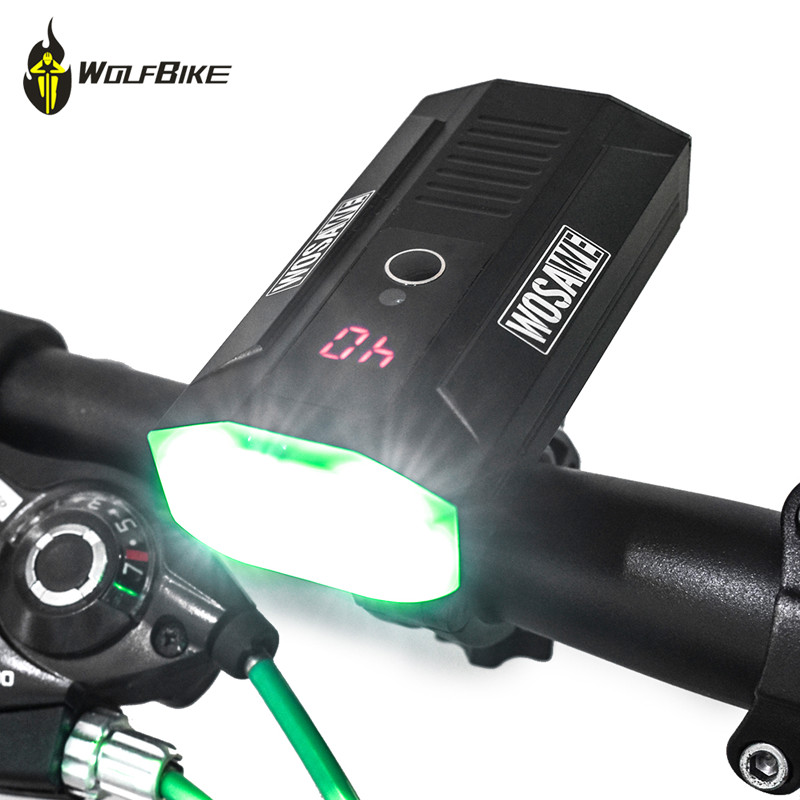 WOSAWE 2400 lumen cycling bicycle lights mtb bike LCD display LED driving lights battery mobile power