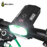 WOSAWE 2400 lumen cycling bicycle lights mtb bike LCD display LED driving lights battery mobile power bank usb front flashlights