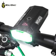 WOSAWE 2400 lumen cycling bicycle lights mtb bike LCD display LED driving battery mobile power bank usb front flashlights