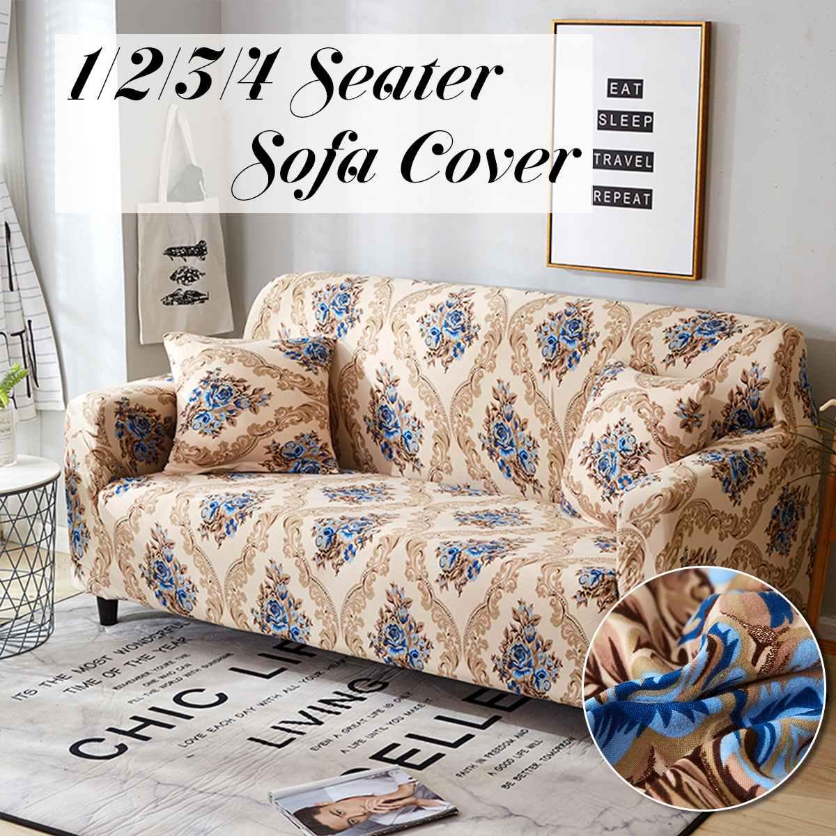 Sapphire Blue 1/2/3/4 Seater Home Soft Elastic Sofa Cover ...
