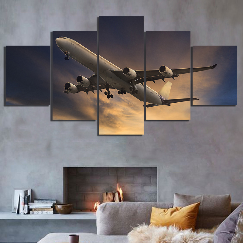 5 Panels Canvas Paintings Airplane Poster Pictures Landscape Wall Art for Home Decor 1