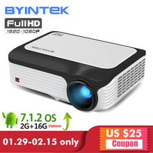 BYINTEK M1080 Smart Android 7.1 (2GB+32GB) Wifi Wireless FULL HD 1080P 1920×1080 Portable Video LED Home Mini Projector
