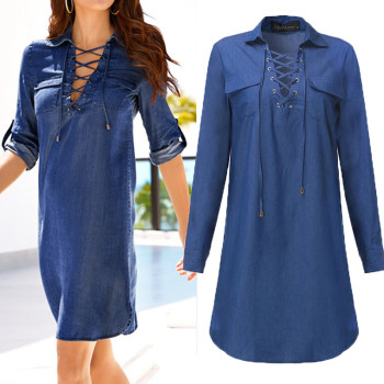 Denim V Neck Dress