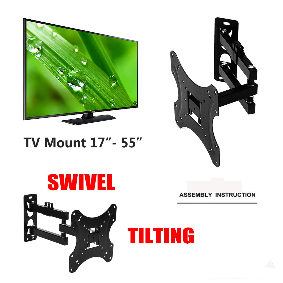 1Pcs Full Motion 180Degree Rotate TV Wall Mount Bracket Supports 17-55Inch LED LCD Flat Screen Universal Telescopic Rack