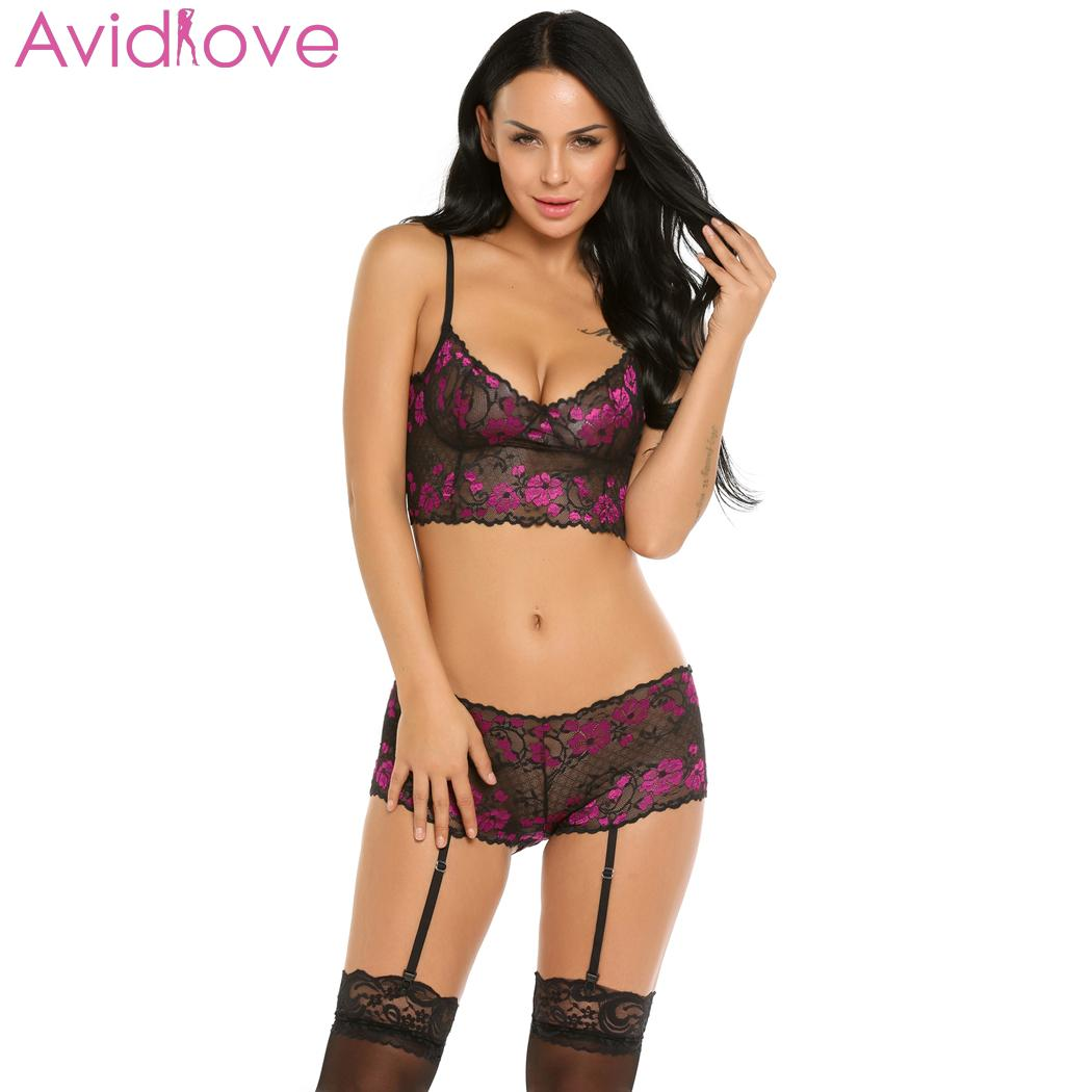60c7e57e1c8 Avidlove Women Sexy Lingerie Set Plus Size Floral Erotic Lingerie Babydoll  Stocking Clips Women Sexy Nightwear