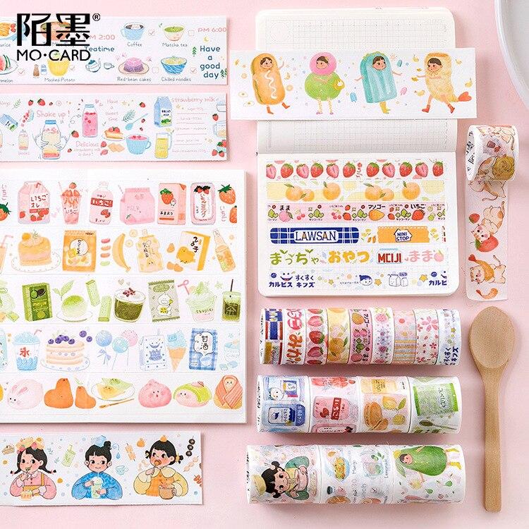 Kawaii Aesthetic Washi Tape Snacks Series Lovely Strawberry Ananas Shop Spelling Diy Decoration Subsidies Cute Stationary