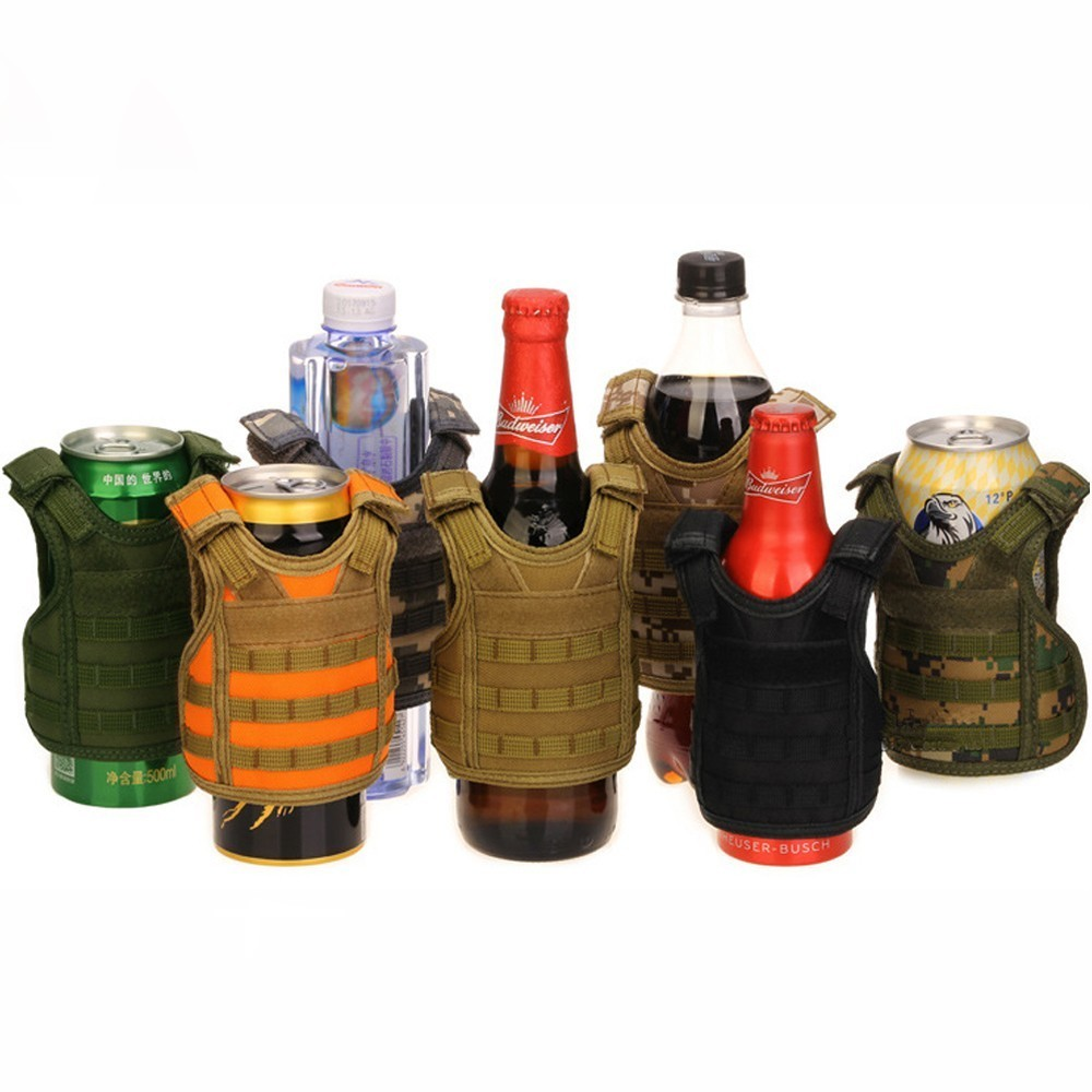 Bright Tenneight Tactical Beer Vest Military Molle Vest Mini Miniature Wine Bottle Cover Vest Beverage Cooler Adjustable Shoulder Strap Pleasant To The Palate Hiking Clothings Sports & Entertainment