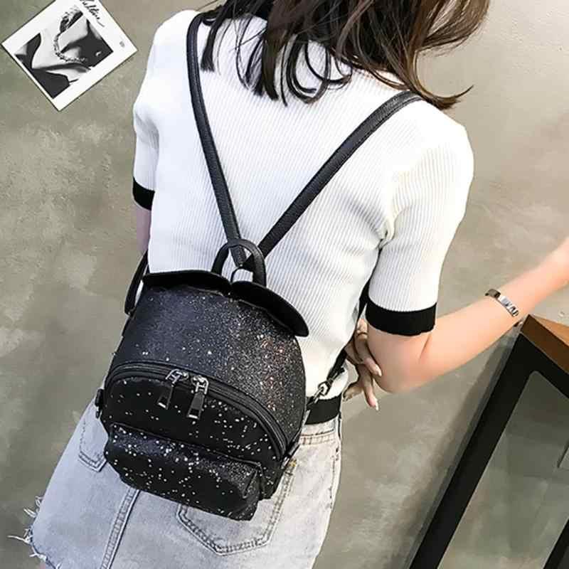 b8ec285d0e 2018 New Fashion Female Backpack Shining Sequins Women Cute Mini Backpacks  Girls Princess Shoulder School bag .