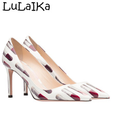 Fashion Printing Pointed Toe Pumps Sexy Patent Leather Thin heel Shoes  Elegant Lipstick Woman Party Wedding 7203b086ec18