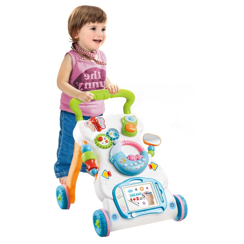 Baby Walker Multifunktionale Kleinkind Trolley Sitzen-zu-stehen Musikalische Walker Mit Einstellbare Höhe