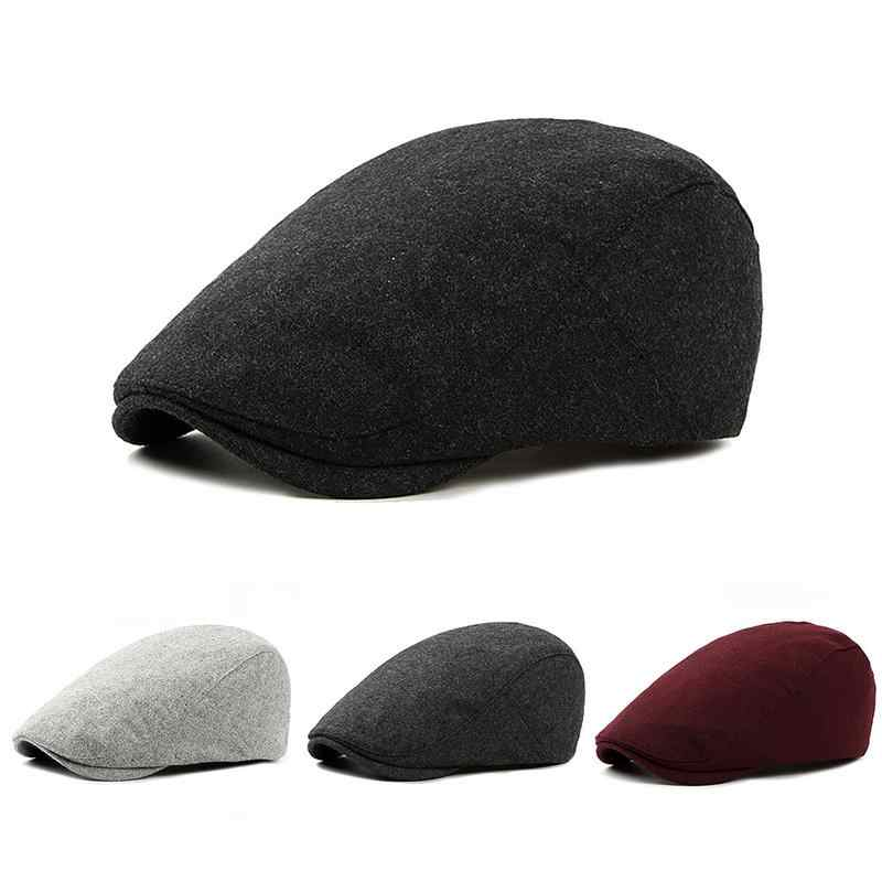 British Style Brand New Hot Fashion Gentleman s Casual Hat Autumn And Winter  Fashionable Mens Woolen Beret b643b5075d7