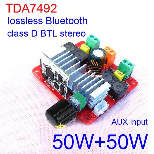 Cheap 2018 TDA7492 Bluetooth amplifier 50W+50W D class BTL stereo digital lossless Bluetooth HIFI power amplifier 12V 24V CAR