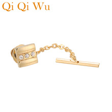 Golden Tie Tack for Mens Shirt Elegant Matte Locking Clutch Backs with Chain mens Jewrlry Free Shipping Qi Wu