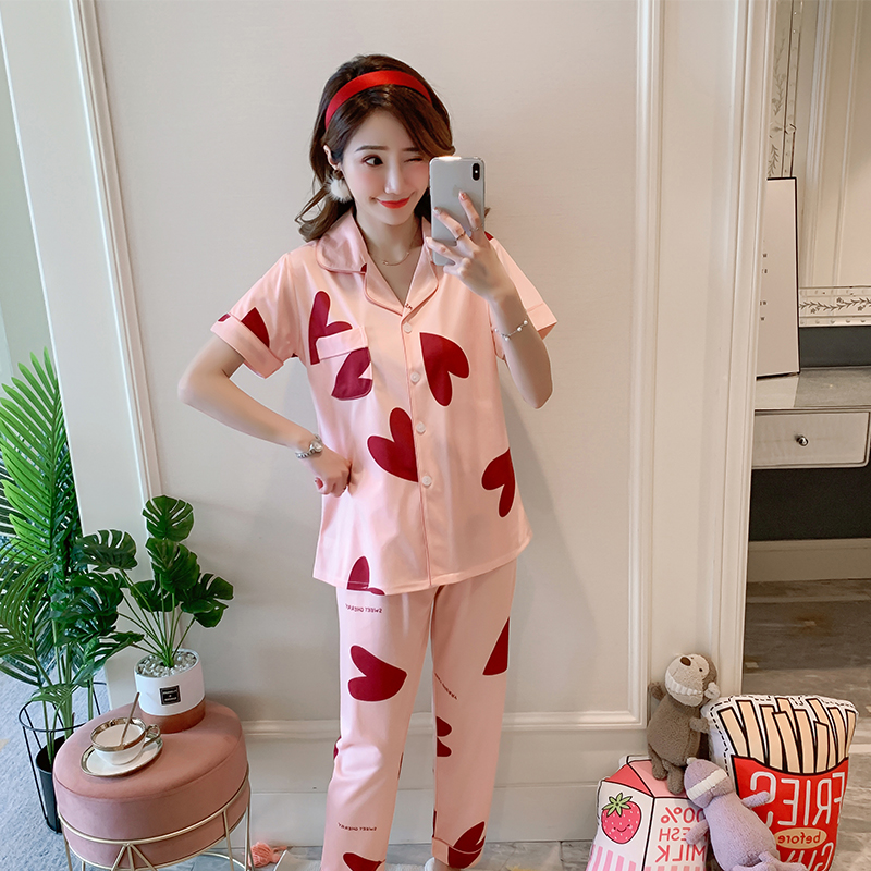 Fashion Women 2019 Leisure Sleepwear Summer Short Sleeved Women Pajamas Set Women Long Pant Pyjamas Nightwear  Ladies Outwear