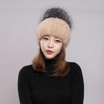 winter fur hats women warm knitted real mink fur hat wholesale price gray black fur caps with Huge fur pompom new design H58