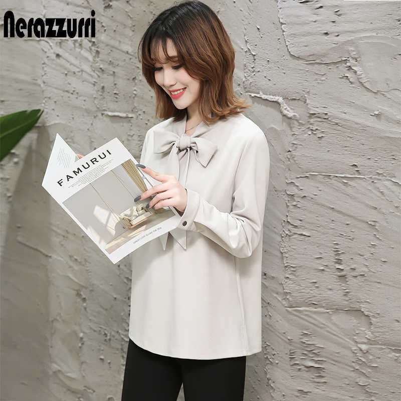 Nerazzurri spring blouses women 2019 long sleeve elegant plus size shirt 4xl 5xl 6xl 7xl bow female big size blouses and tops