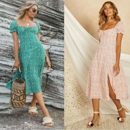 Boho Womens Vakantie Polka Jurk 2019 Nieuwe Zomer Dames Bloemen Dot Maxi Lange Print Hight Split Strand Outfit Jurk S-xl