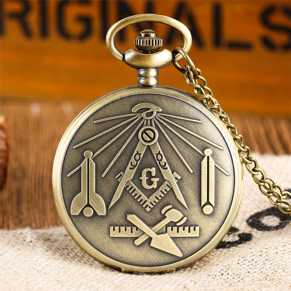 Classic  Freemasonry Theme Quartz Pocket Watch Retro Bronze Necklace Pendant Clock Best Souvenir Gifts For Men Women