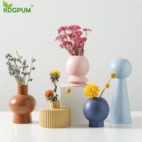 KDGPUM Europe Porcelain Vase Modern Fashion Ceramic Flower Vase Colorful Flower Arrangement Pot Hallway Home Wedding Decoration