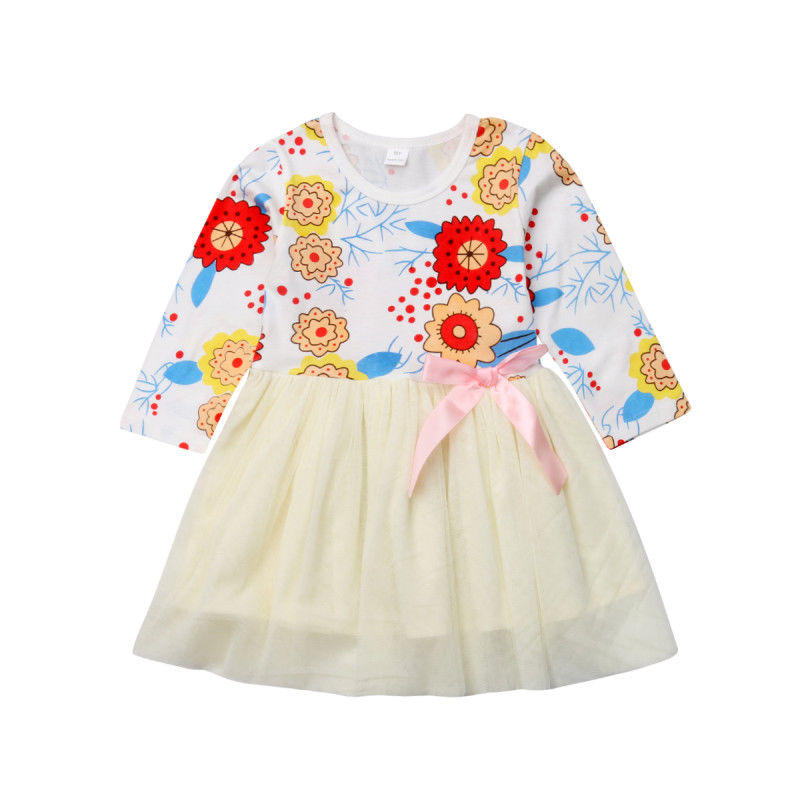Toddler Kids Baby Girls Princess Flower Long Sleeve Tulle Dress Casual Clothes 1-6 Y High Waist Floral a-Line Dress