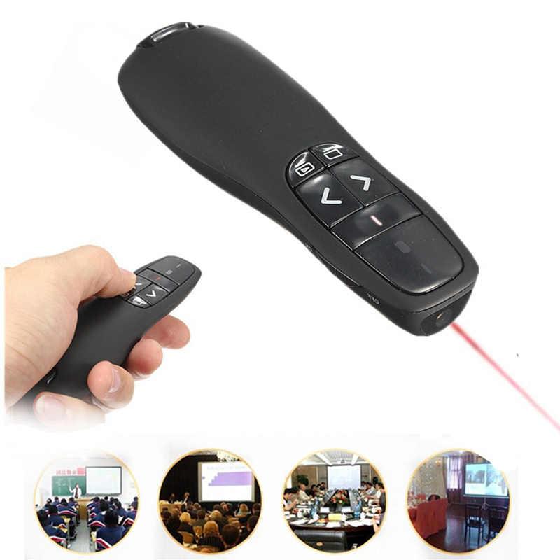 LEORY Confortável Handheld R400 Receptor Apresentador Controle Remoto Sem Fio Portátil Caso com Red Laser Pointer Pen Preto