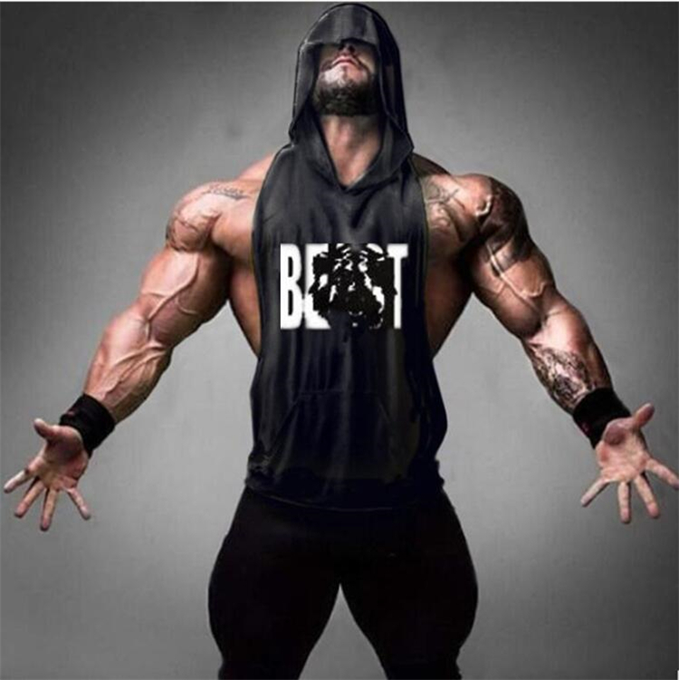 Gyms Clothing Men's Muscle Hoodies Fitness Bodybuilding Sleeveless Gym   Tank     Top   Vest beast printed   tops