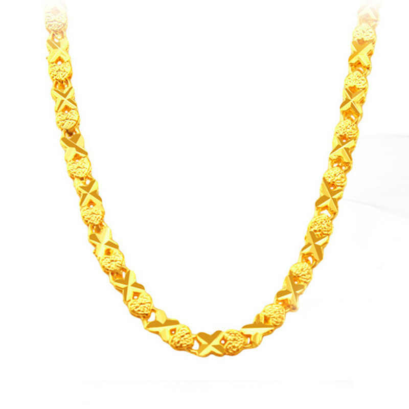 Heart X-shaped Plated Gold Necklaces For Women Luxury Ethiopian Jewelry  Necklace Fashion Gift For 028552be6cf3