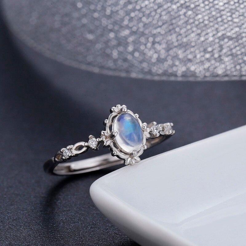Vintage Style 925 Sterling Argent Rond Naturel Moonstone bagues pour femmes De Mariage de Fiançailles Bijoux Doigt Anillos Bague Anéis