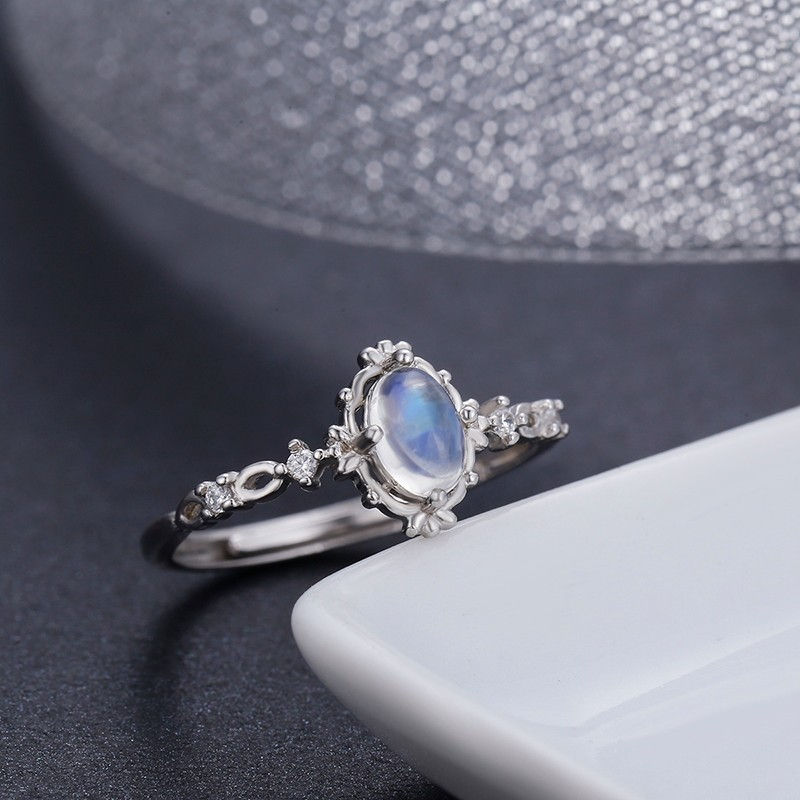 Vintage Style 925 Sterling Silver Round Natural Moonstone Rings For Women Wedding Engagement Jewelry Finger Anillos Bague Aneis 925 sterling silver pear natural blue moonstone accent cz rings for women wedding engagement jewelry finger anillos bague anillo