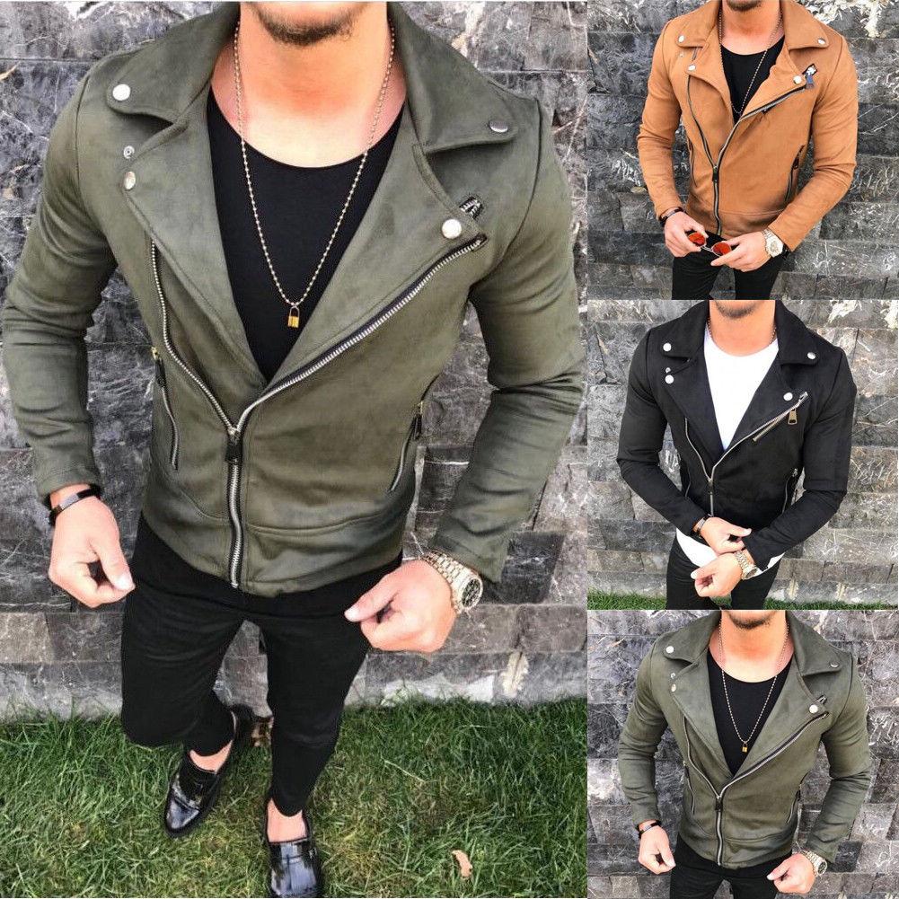 hirigin 2019 New Arrial Men Autumn Winter Suede Faux Leather Jackets Male  Matte c15b0abc1
