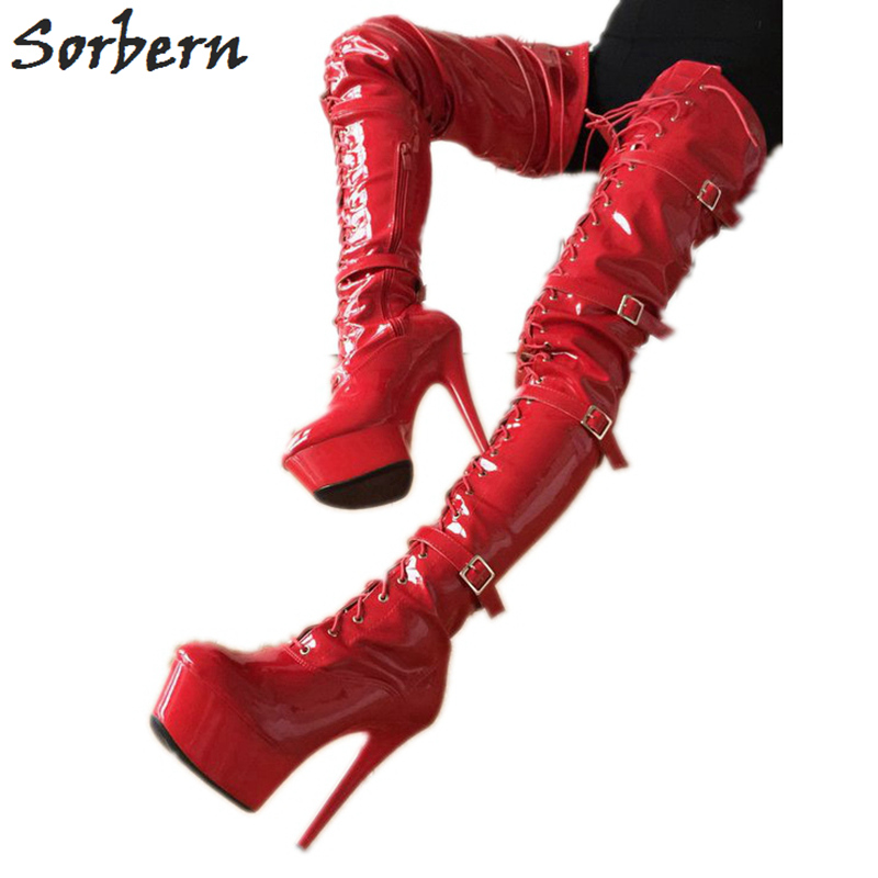 Sorbern Red Shiny 80Cm Crotch Thigh High Boots With Heels Custom Wide Calf Boots For Women Big Size Heel Boot Size 11 ShoesSorbern Red Shiny 80Cm Crotch Thigh High Boots With Heels Custom Wide Calf Boots For Women Big Size Heel Boot Size 11 Shoes