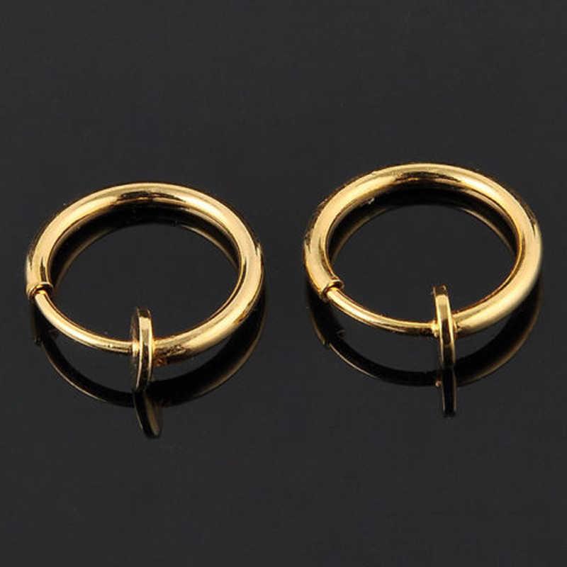 מכירה לוהטת 2pcs Invisible אין אוזן חור עגילי קליפ האף טבעת טבור טבעת עבור יוניסקס פאנק רוח אביזרים