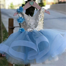 Girls Princess Gown Sequined Lace Patchwork 3D Flowers Sleeveless Dress New Backless Paillette Flower