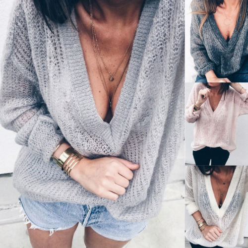 Plus Size 5XL Sweater Female Oversized Sweater Ladies Loose Deep V Neck Pullovers Jumper Autumn Women Knitted Sweaters