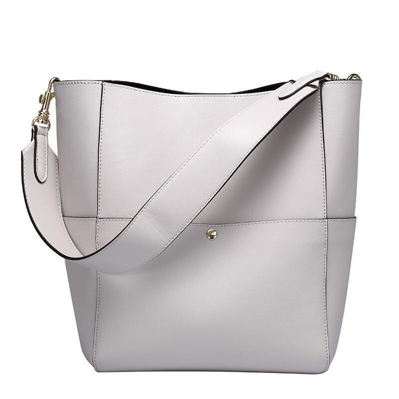 2019 женская сумка тоут из натуральной кожи, черная сумка мешок, женские роскошные сумки от известных брендов, Женская коричневая дизайнерская сумка через плечо - 2