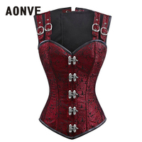 Aonve Steampunk Overbust Women Corset Red Blue Steel Bones Korse Top Black Gothic Clothes Mujer Punk Rave Costumes S 2XL