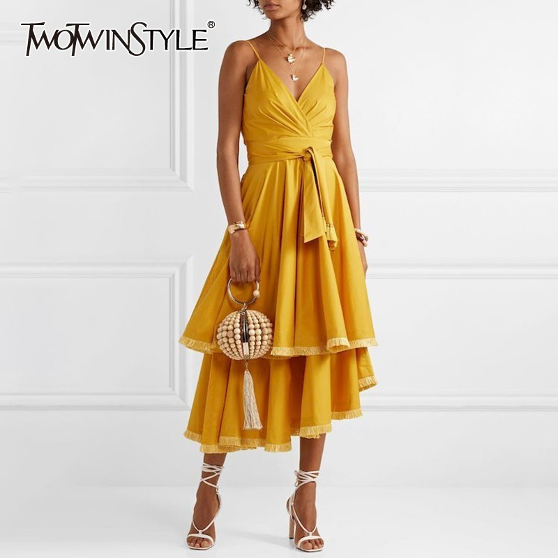 TWOTWINSTYLE Tassel Patchwork Sleeveless Women Dress Off Shoulder High Waste Bandage Asymmetrical Midi Dresses Female Summer