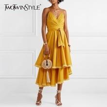 TWOTWINSTYLE Tassel Patchwork Sleeveless Women Dress Off Shoulder High Waste Bandage Asymmetrical Midi Dresses Female Summer New