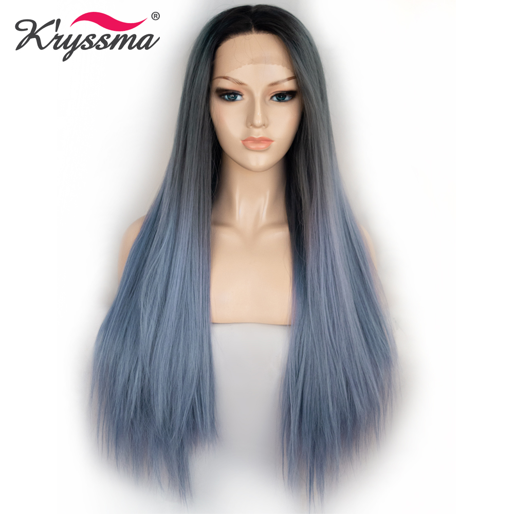 Kryssma Blue Synthetic Lace Front Wig Ombre Wigs For Black White Women Grey Synthetic Hair Long