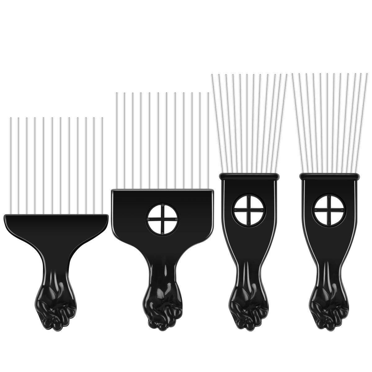 4 Pcs Pick Comb African American Hair Brush Metal Hair