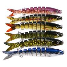 Preasle 1Pcs 13.28cm Fishing Bait Plastic Hard Sink Tackle Flexible Artificial Multi Jointed 19g Adult