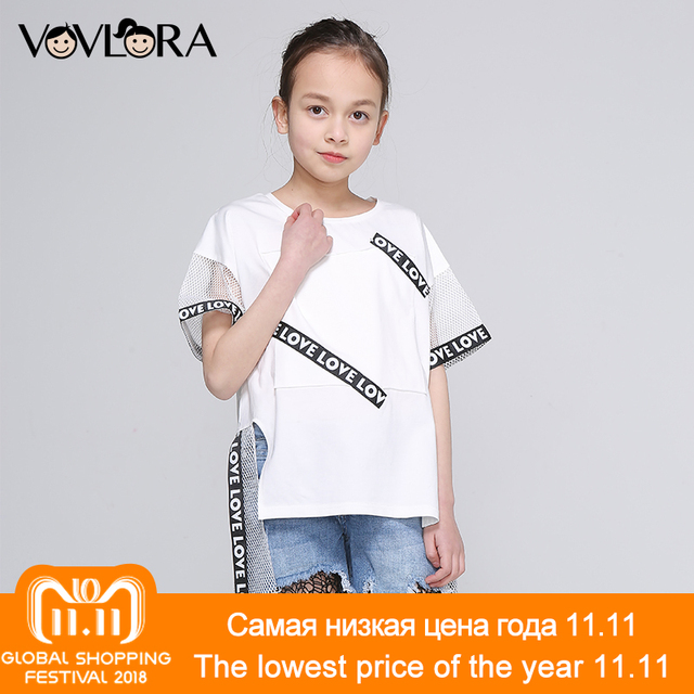 dda2fc1f22d2 Aliexpress.com   Buy Girls Short Sleeve T Shirts Patchwork Ribbon ...
