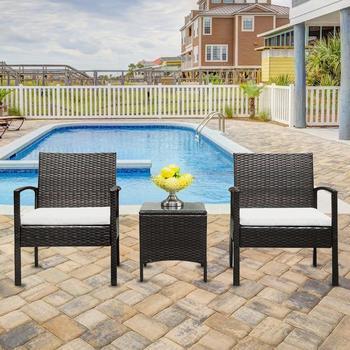 3 piezas respaldo sillas mesa comedor silla ratán al aire libre café  muebles Kit para hogar Oficina Decoración ocio jardín Mesa silla