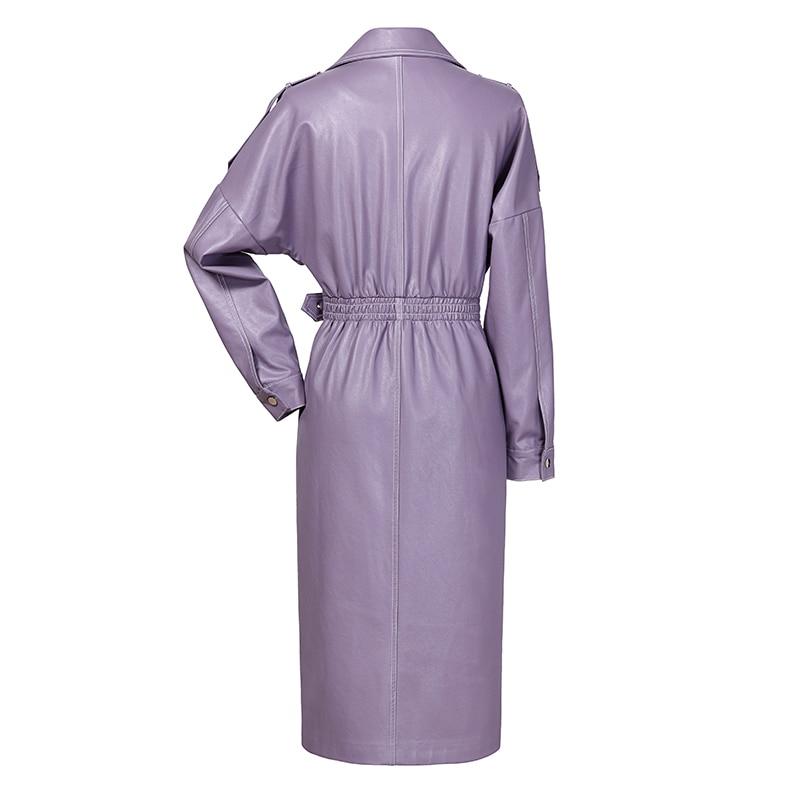 Femme Col Manches eam Couleur Printemps Cuir Turn Ld856 Réglable En Haute Pu Taille Purple Ace Longues Violet Longue down 2019 qpwpRF4