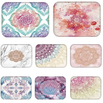 Mandala Marble Kitchen Entrance Door Mat Coral Velvet Carpet Rubber Colorful Flower Indoor Floor Mats Non-Anti-Slip Rug 48232 image
