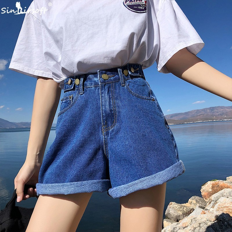 Denim Vintage Light Blue Solid Women Fashion High Waist Simple 2019 New Arrival Loose Casual Female   Shorts